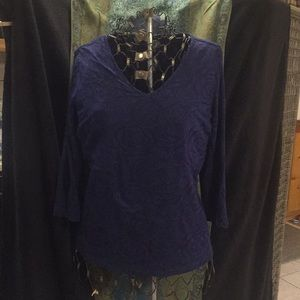 Coldwater Creek Navy top size M sheer overlay,